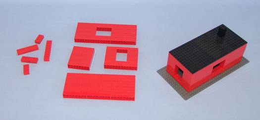 Two-stage manufacturing of a Lego house