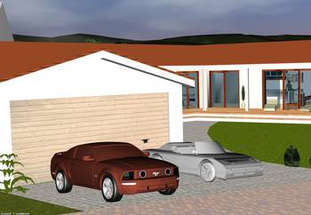 Visualized driveway with garage and cars in the foreground